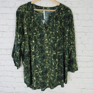 NY Collection Shirt Top Blouse Womens 2X Green